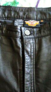 VTG Harley Davidson Soft Lamb Skin Black Leather Pants Women's Ladies 36 GREAT!