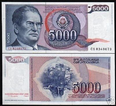 Yugoslavia 5000 dinars with Josip Broz Tito 1985 UNC