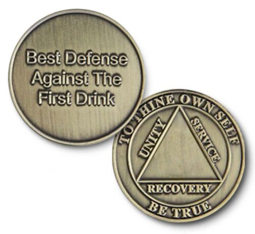 """Brnz /""""Best Defense/"""" Utility C//T AA 12 Step Recovery Program Coin//Medallion//Chip"""