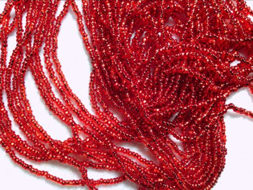 Vtg 1 HANK SILVER LINED RED UBER OLD ROUND GLASS SEED BEADS 13//0 #012816c