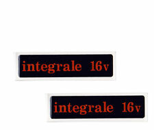 COPPIA SCRITTE LOGO FREGIO MINIGONNE LANCIA DELTA HF INTEGRALE 16V 16 VALVOLE