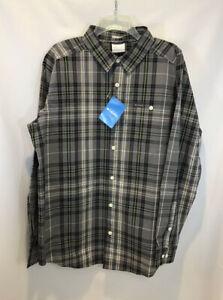 New Columbia Men's Gray Plaid Button Down Shirt Boulder Ridge Size Xl