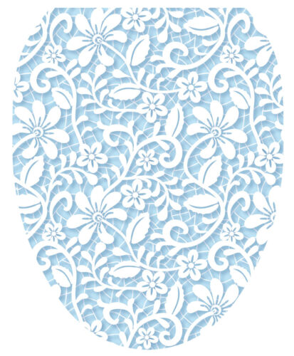Toilet Tattoos Lovely Lace Blue   Lid Cover  Decor Silver Reusable Vinyl 1125