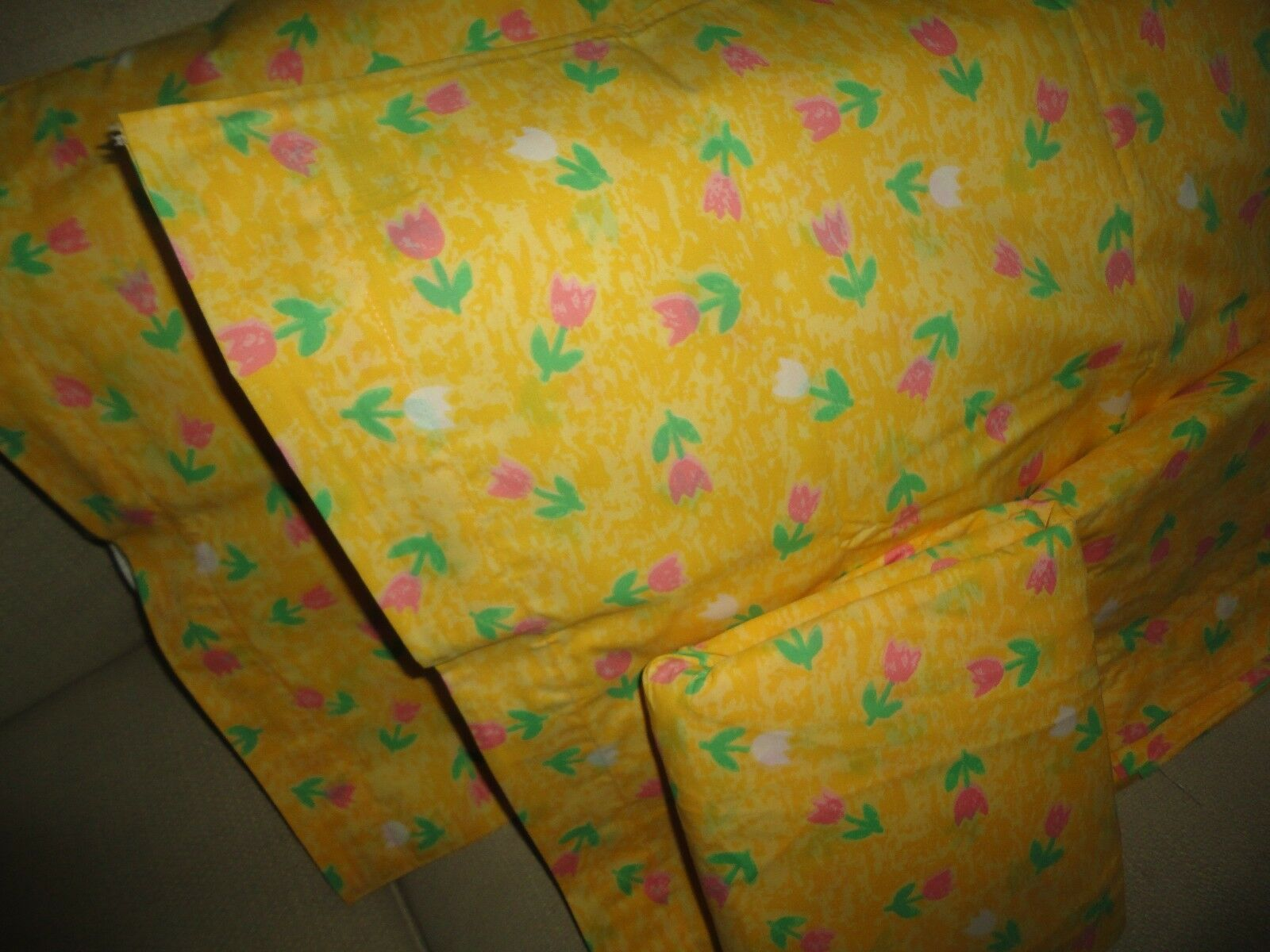 VINTAGE PENNEY FLOWER POWER TULIPS YELLOW PINK FLORAL GREEN (4PC) FULL SHEET SET