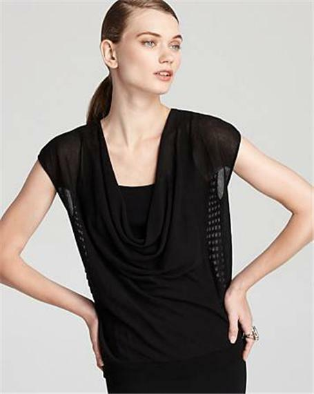 EILEEN FISHER schwarz  Mesh Back  Drape Neckline Cotton Top L (12-14) NWT