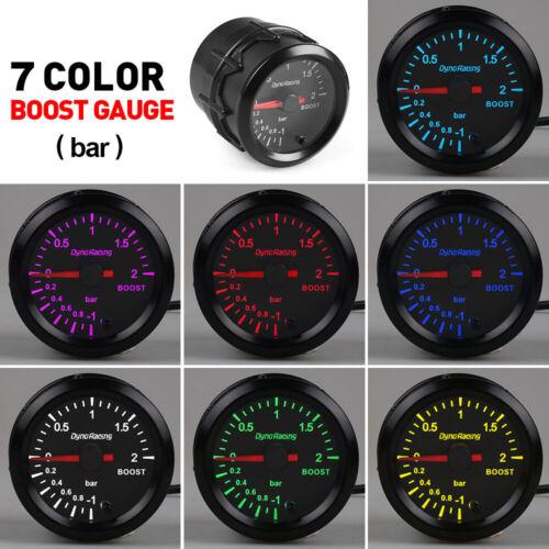 2/'/' 52mm Pointer Turbo Boost Gauge Stepper Motor Black 2Bar Meter 7 Color LED