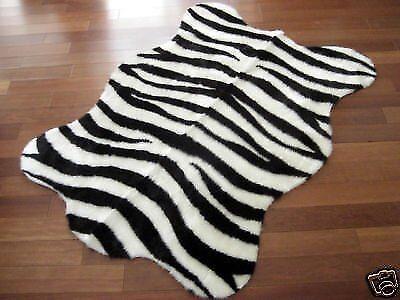 Zebra Rug Faux Fur Skin Pelt Hide