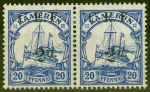 Cameroun 1915 2d Sur 20pf Outremer SGB4a Surch Double Un Albino V.F Très L