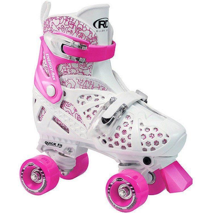 Roller Derby Trac-Star V2 Weiß/Rosa Adjustable Kids Roller Skates