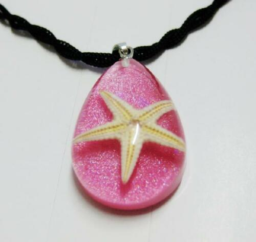NEW PINK STARFISH LUCITE FASHION PENDANT INSECT JEWELRY TAXIDERMY GIFT NG