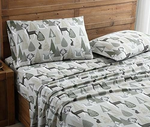Flannel Bed Bed Bed Sheets Set Luxurious All Season Cotton Full Größe Nature Forest Print 3abcc6