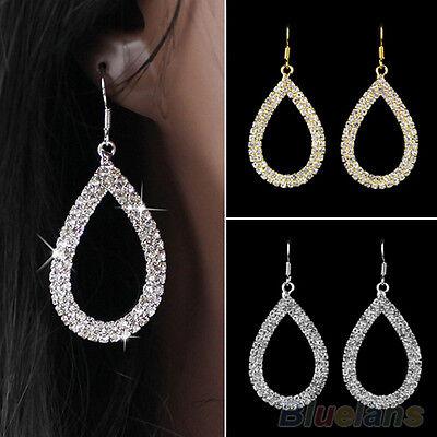 Modish Trendy Crystal Teardrop Dangle Earrings Elegant Rhinestone Drop Ear Studs