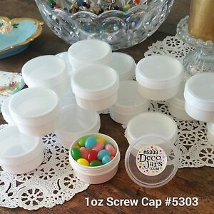 20-White-JARS-1-ounce-Clr-Caps-Plastic-Container-5303-DecoJars-USA-Party-Favors