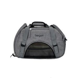 Bergan-Dog-Cat-Pet-Airline-Comfort-Carrier-Tote-w-Fleece-Bed-Small-Heather-Gray