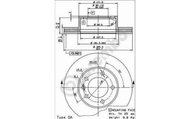 BREMBO Disco de freno (x2) Antes 305mm ventilado RENAULT MASTER OPEL 09.9080.10