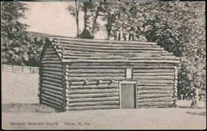 UNION WV Rehoboth Methodist Church Vtg Log Cabin Old Albertype B&W Postcard