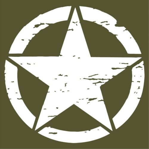 DISTRESSED ARMY STAR MILITARY JEEP 10 YEAR PREMIUM VINYL DECAL//STICKER 3-22in