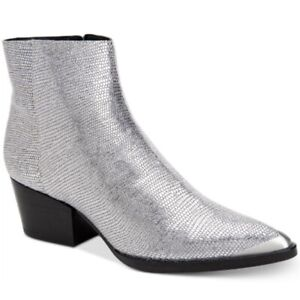 NEW Calvin Klein Women's Narice Varnished Lizard Bootie Boots Silver $169