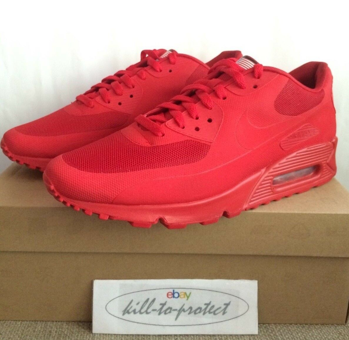 NIKE AIR MAX 90 HYPERFUSE USA Rosso noi UK7 8 9 10 11 12 indipendenza 613841-660