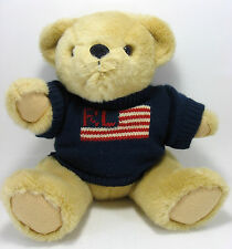 Ralph Lauren Teddy Bear Plush Stuffed Animal American Flag Knit Sweater 1996 14""