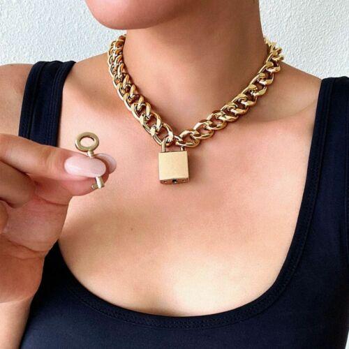 Goth Padlock Chain Necklace Women//Men Punk Choker Lock Fashion Pendant Necklace