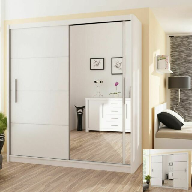 Wardrobe Alaska 150cm Clothing Closet Bedroom Dresser With Mirror White For Sale Ebay