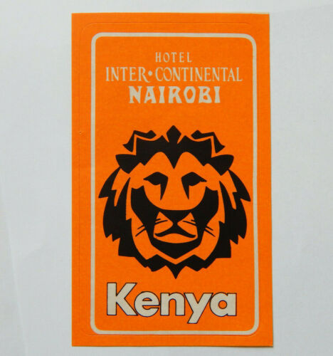 Hotel Intercontinental Nairobi Kenya Lion Luggage Label 1970s