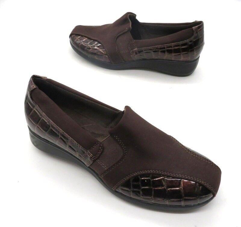 CLARKS 8 Brown Patent Leather Croc Textured Nylon Elastic Elastic Elastic Slip On Wedge shoes acfa16
