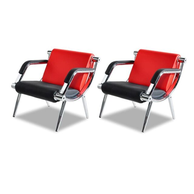 2pcs Office Reception Chairs Waiting Room Visitor Guest Stools Red W Pu Leather