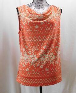 2b78edda23ff7 Nwt  49 Tahari Tan   Coral Floral Jersey Sleeveless Blouse....XL