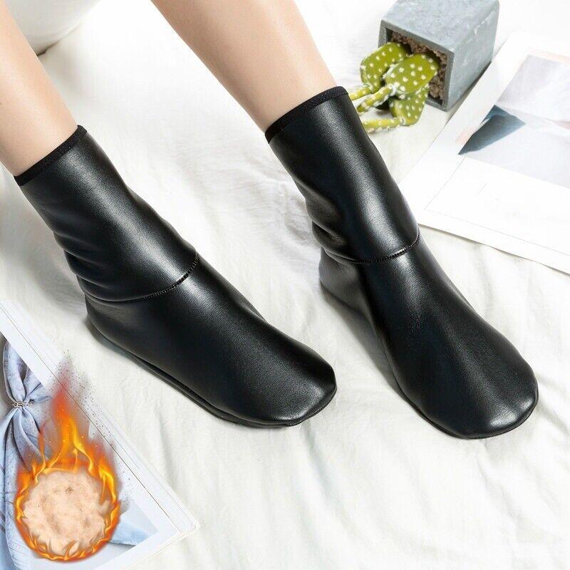 2 Paar Damen Kunstleder Socken Hausschuhe Heim Soft-Soled Schuhe Stiefel Warm