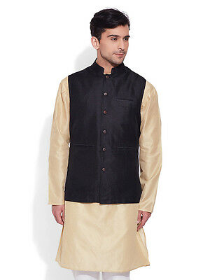 Very Me Men's Faux Silk Black Nehru Jacket(MFNJ1503)