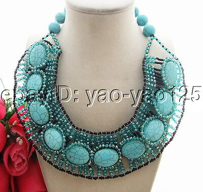 Q121304 Stunning! Turquoise&Crystal Necklace