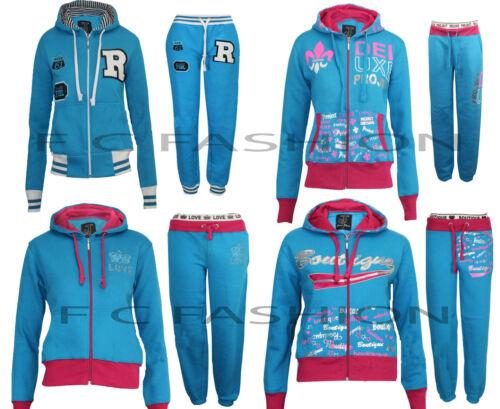 Damen Mädchen Kapuzen Fleece Jogging Trainingsanzug Top Größen M L XL