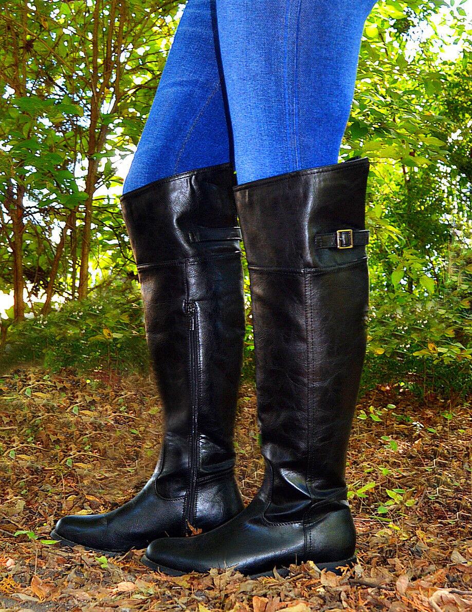 Women's Dark Black Rider Boots With Side Zipper (BrownB-003) Size-6