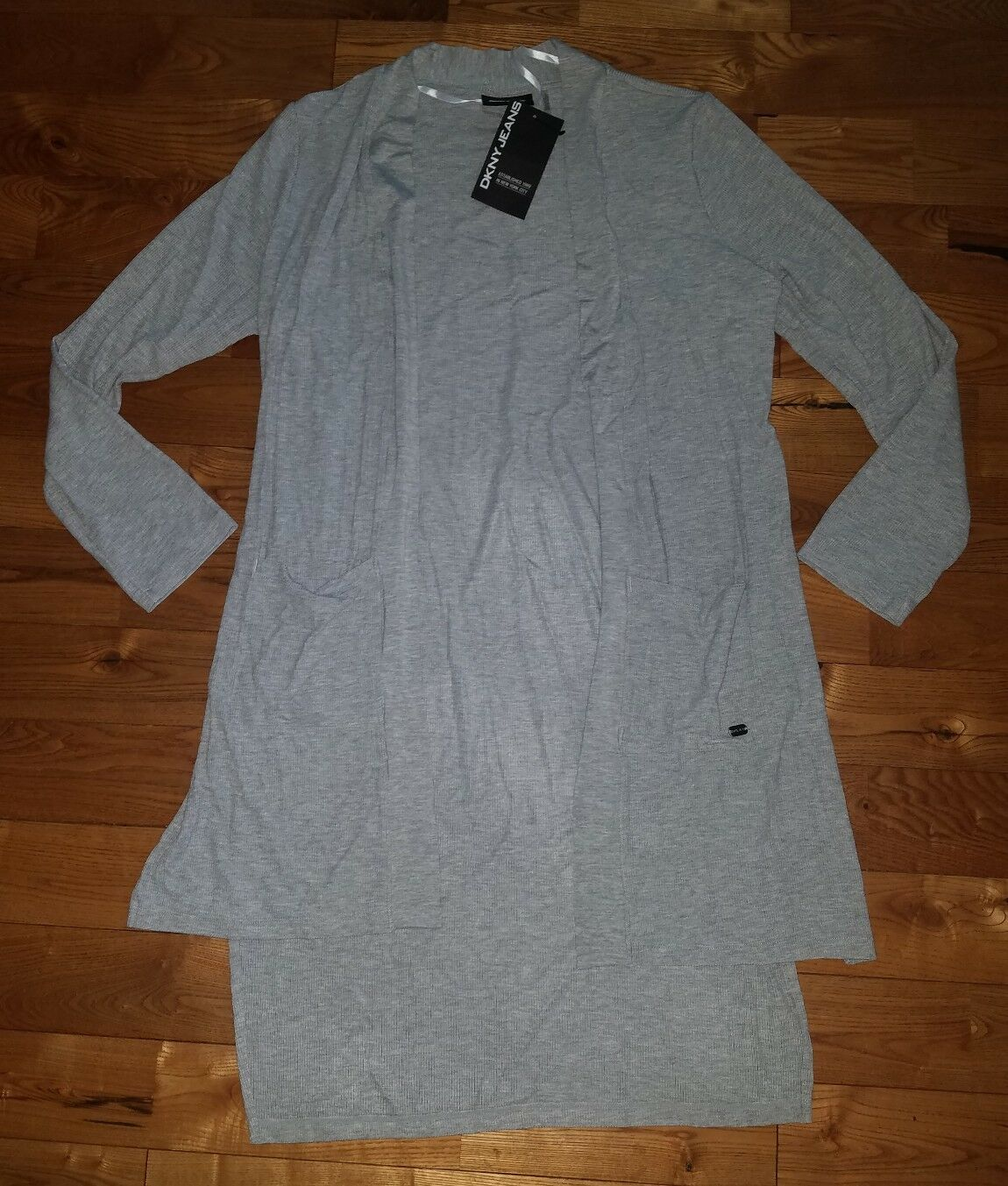 NWT Women's Grey DKNY Ribbed Open Front Stretchy Light Weight Cardigan Size L