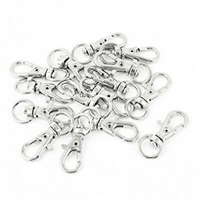 Silver Satchel Handbag Strap Ornament Snap Hook Lobster Clasp 15 Pcs O9R5