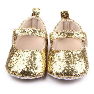 896ae0f339a9f Details about NEW Baby Girls Gold Glitter Sequin Mary Jane Crib Shoes 0-6  6-12 12-18 Months