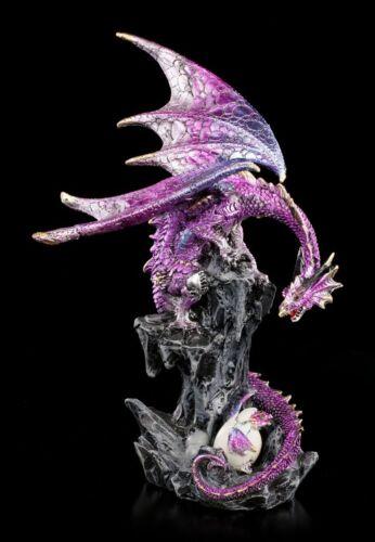 Stolzer Vater Fantasy Deko Drachenbaby Statue Gothic Drachen Figur