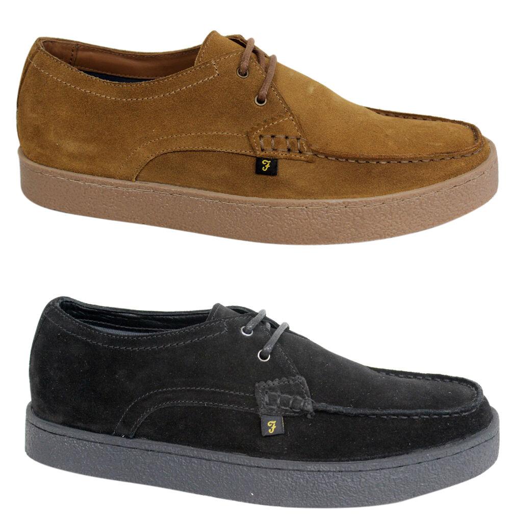 Farah uomo con lacci struttura LO camoscio marrone scarpe nere far0009