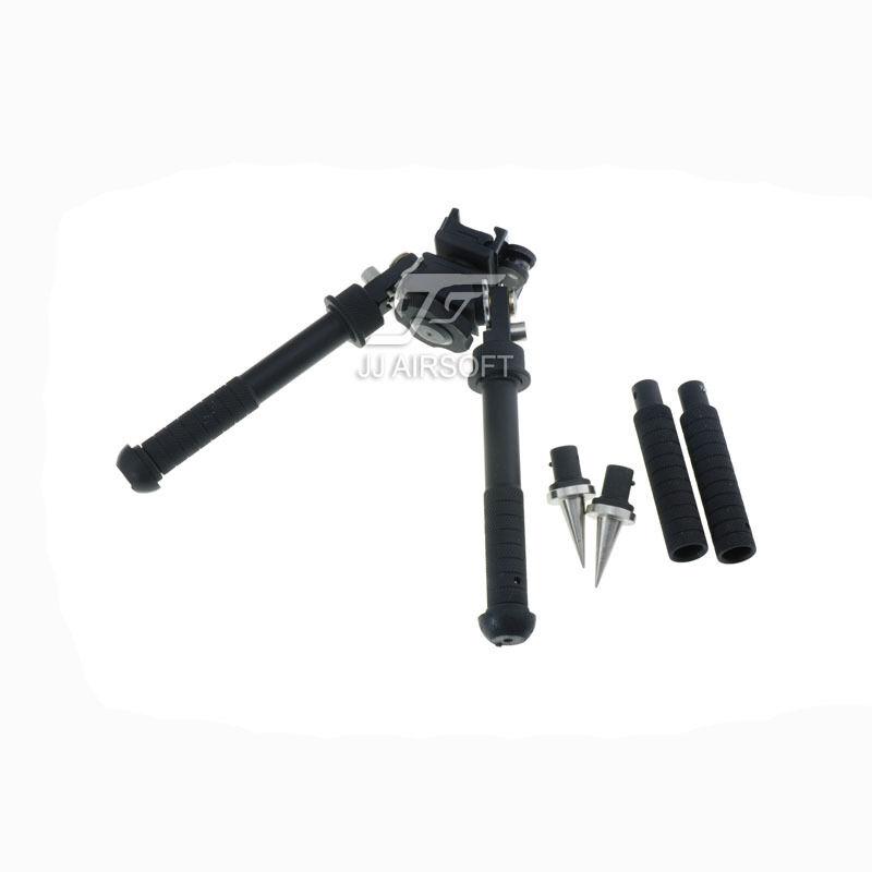 JJ Airsoft Rifle Bípode con montaje AD170S, extensiones de pierna de 3 pulgadas y picos de tensión