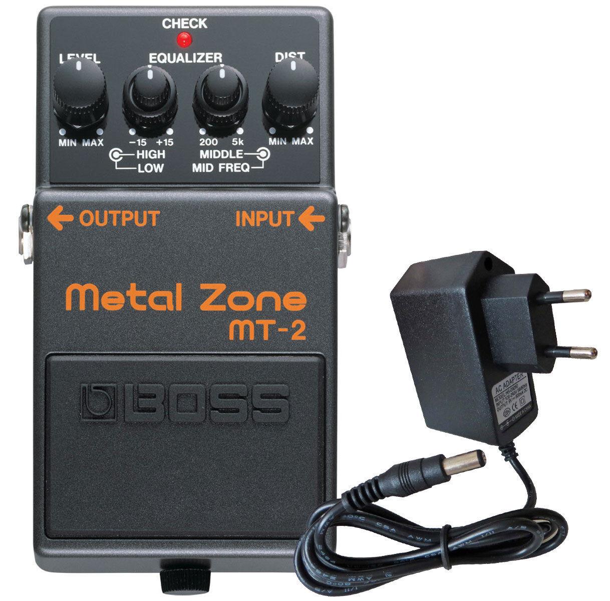 Boss mt-2 Metal Zone distortion distortion distortion pedal + fuente alimentación 5e4e47