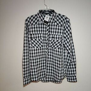 Checkered-Black-Men-039-s-Large-Button-Down-Long-Sleeve-Shirt