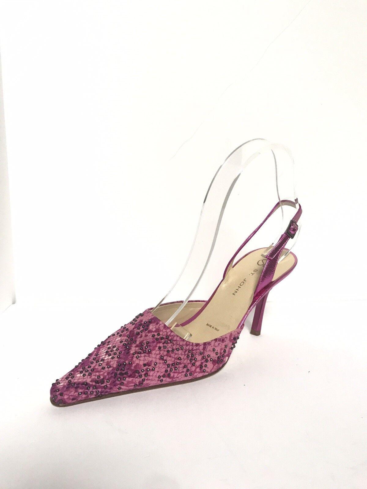 St John Black Paillettes Embellished Pointed Toe Sling Back Pumps shoes 6 B