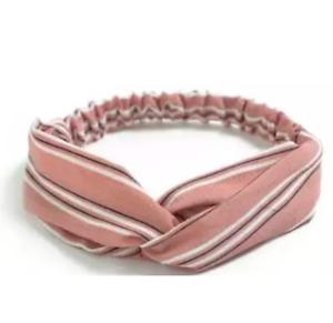 Coral Pink Stripe Twist Knot Headband