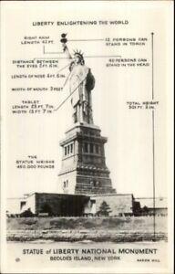 New-York-City-Statue-of-Liberty-w-Statistics-Real-Photo-Postcard