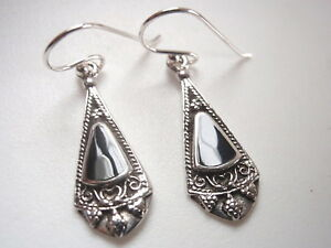 Black-Onyx-Tribal-Style-925-Sterling-Silver-Dangle-Earrings