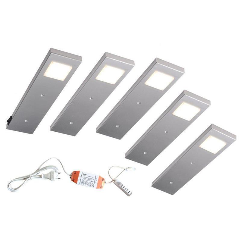 5er Set LED Unterbauleuchte DIABOLO inkl. KonGrüner ein Strahler mit Schalter