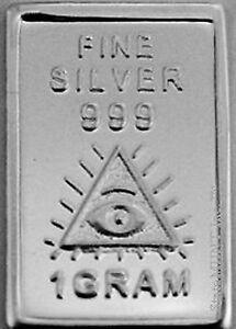 USA-1gr-999-Fine-Silver-Art-Bar-Masonic-039-All-Seeing-Eye-039-UNCIRCULATED
