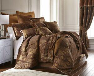 6pc Magnificent Asian Art Brown Gold Comforter Set Queen